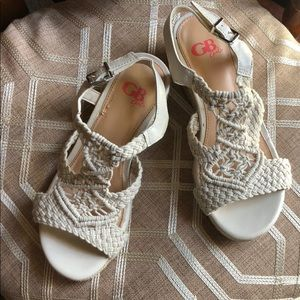 GB Girls crochet rope wedges size 3